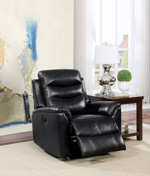 HomeRoots Black Leather Power Motion Recliner OCN-304948