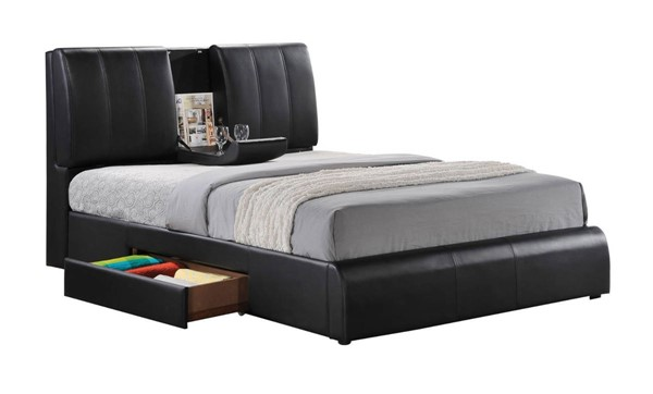 HomeRoots Contemporary Black PU Queen Storage Bed OCN-304975