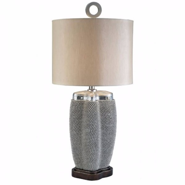 HomeRoots Pearl Stone Contemporary Table Lamp OCN-306947