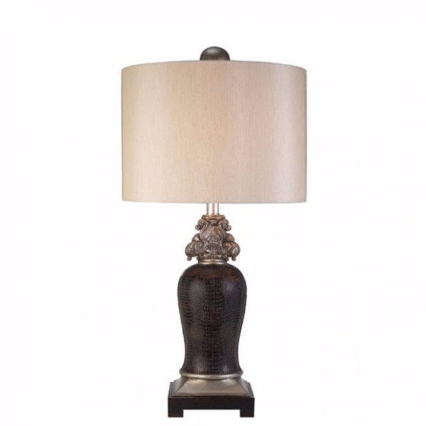HomeRoots Silver Brown Leather Transitional Table Lamp OCN-306950