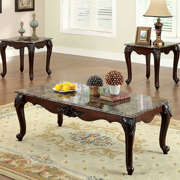 Homeroots Dark Cherry Solid Wood Brown Faux Marble Top 3pc Coffee Table Set OCN-306981