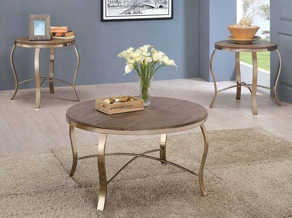 Homeroots Rustic Oak Top Champagne Metal 3pc Coffee Table Set OCN-306983