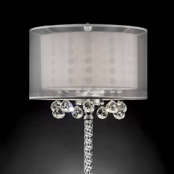 HomeRoots Clear Silver Metal Traditional 30 Inch Table Lamp OCN-307103