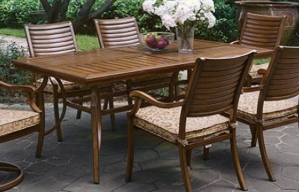 Homeroots Brown Aluminum Patio Dining Table OCN-307110