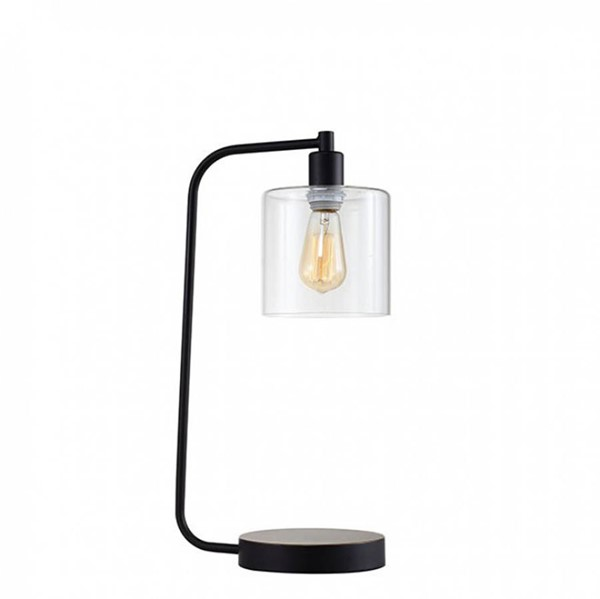 HomeRoots Black Metal Glass Contemporary Table Lamp with Light Bulb OCN-307113