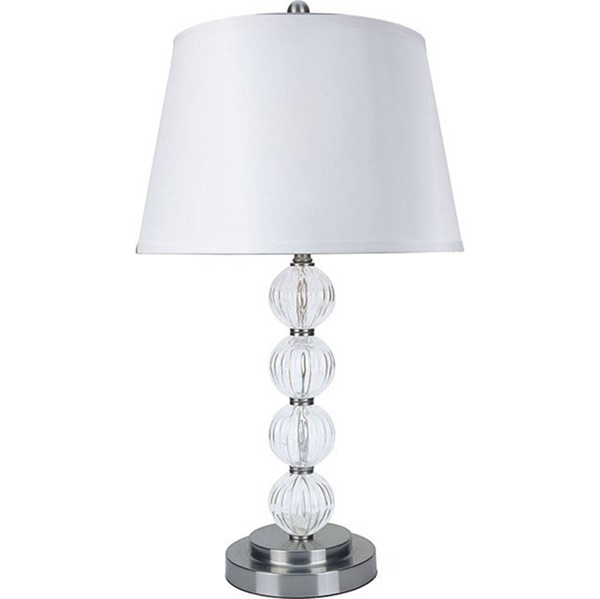 2 HomeRoots Silver Clear Glass Contemporary Table Lamps OCN-307129