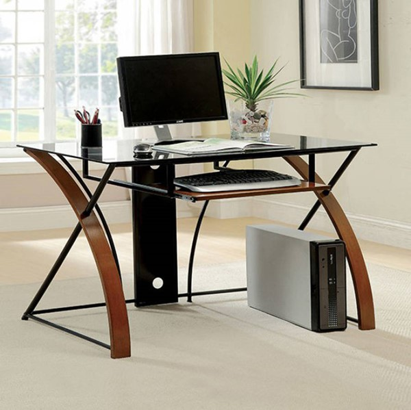 Homeroots Oak Solid Wood Black Metal Computer Desk OCN-307143