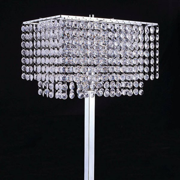 HomeRoots Chrome Crystal Metal Traditional Table Lamp OCN-307177