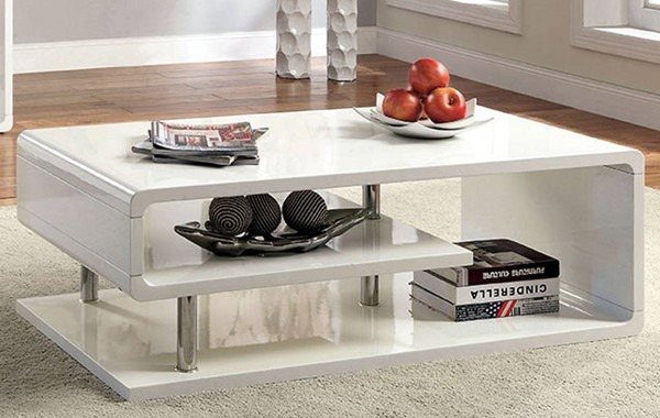 Homeroots White Lacquer Coffee Table OCN-307205