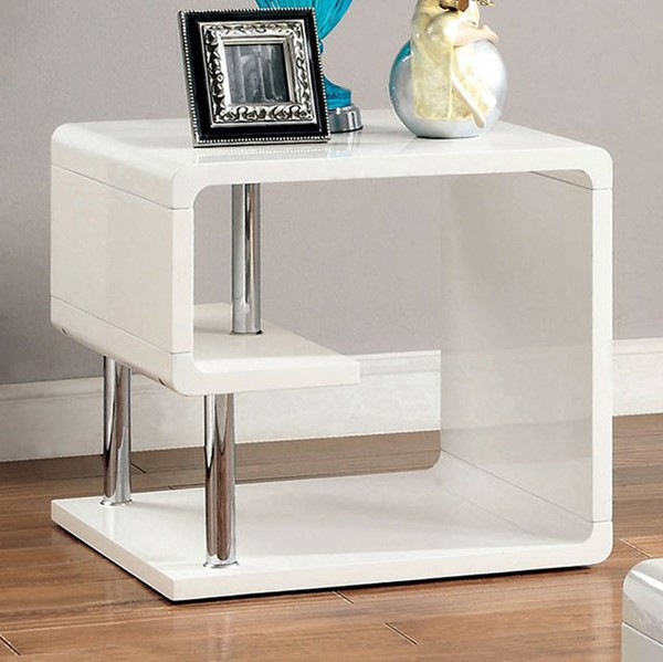 Homeroots White Lacquer End Table OCN-307206