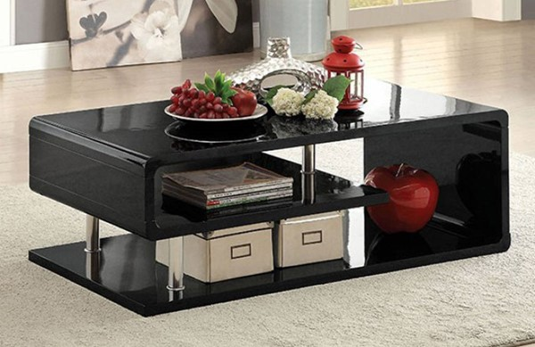 Homeroots Black Lacquer Coffee Table OCN-307219