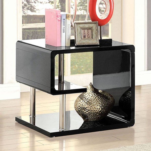 Homeroots Black Lacquer End Table OCN-307220