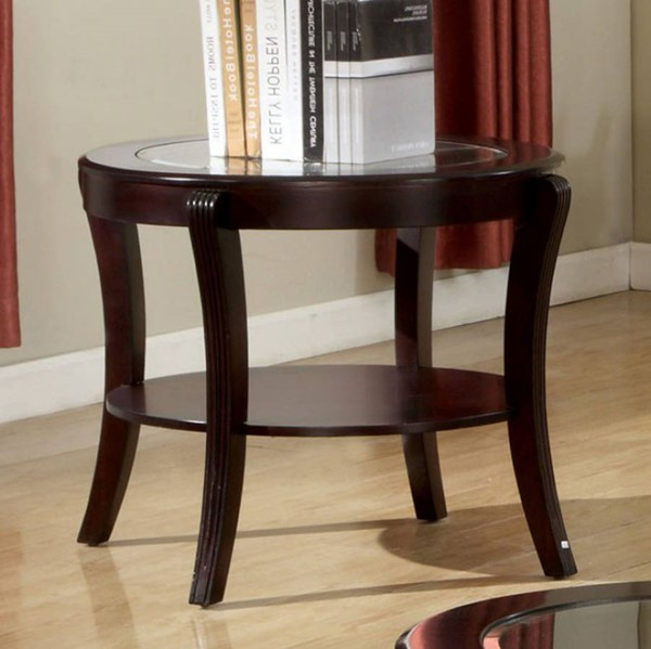 Homeroots Espresso Solid Wood Glass Top End Table OCN-307251