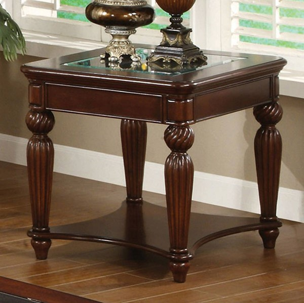 Homeroots Dark Cherry Solid Wood Glass End Table OCN-307310