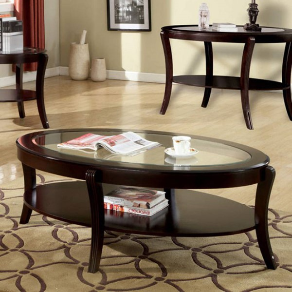 Homeroots Espresso Solid Wood Glass Top Coffee Table OCN-307324