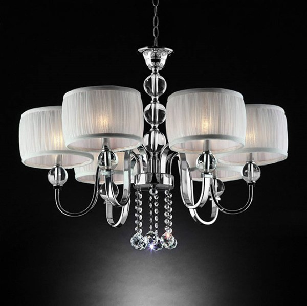 HomeRoots White Crystal Chrome Metal Glass Traditional Ceiling Lamp OCN-307329