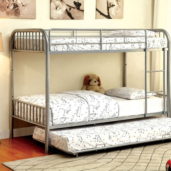 HomeRoots Modern Silver Metal Twin over Twin Bunk Bed OCN-307371