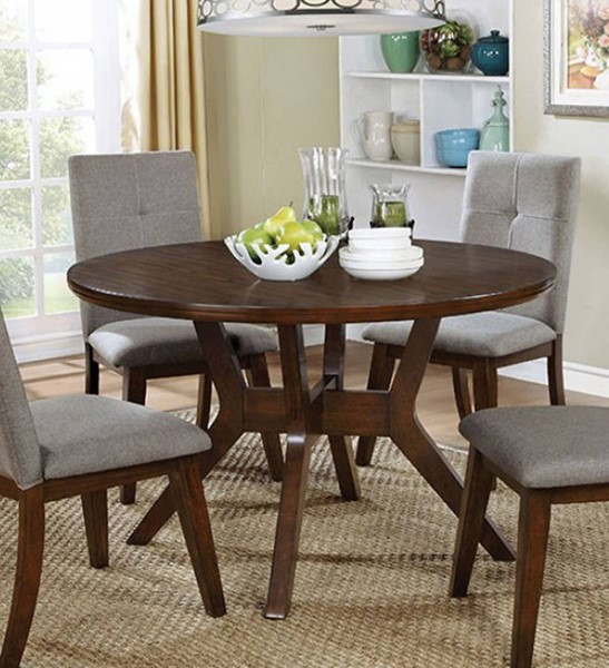Homeroots Walnut Solid Wood Round Dining Table OCN-307379