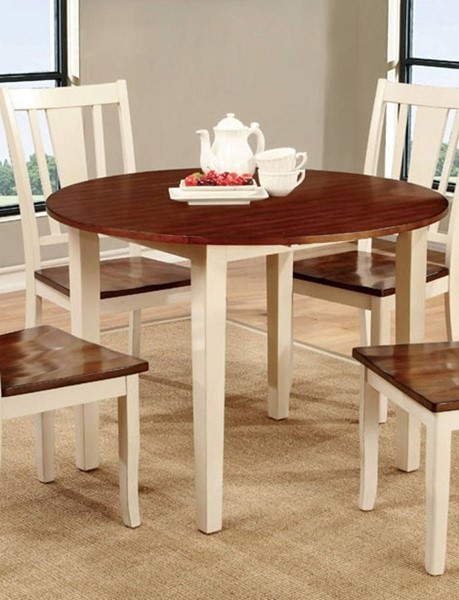 Homeroots Dover Vintage White Cherry Wood Dining Table OCN-307381