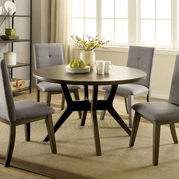Homeroots Gray Solid Wood Round Dining Table OCN-307382