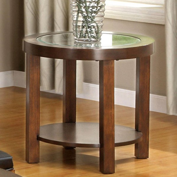 Homeroots Contemporary Dark Walnut Solid Wood Glass Top End Table OCN-307402