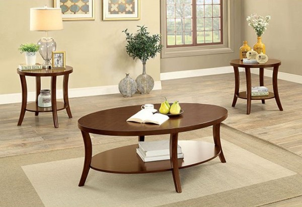 Homeroots Brown Cherry Wood 3pc Coffee Table Set OCN-307403