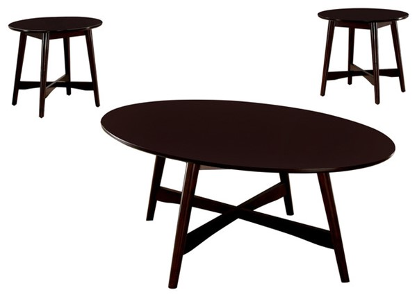 Homeroots Modern Brown Cherry Wood 3pc Coffee Table Set OCN-307404