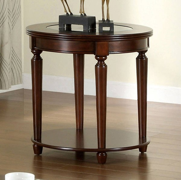 Homeroots Contemporary Dark Cherry Solid Wood Glass Top End Table OCN-307407