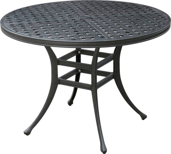 Homeroots Dark Gray Metal Round Patio Dining Table OCN-307418