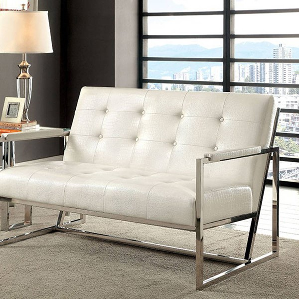 HomeRoots Contemporary White Leather Loveseat OCN-307425