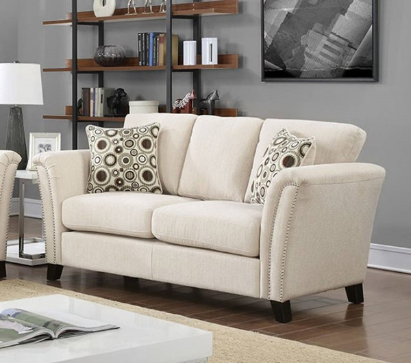 HomeRoots Contemporary Ivory Polyester Loveseat OCN-307447