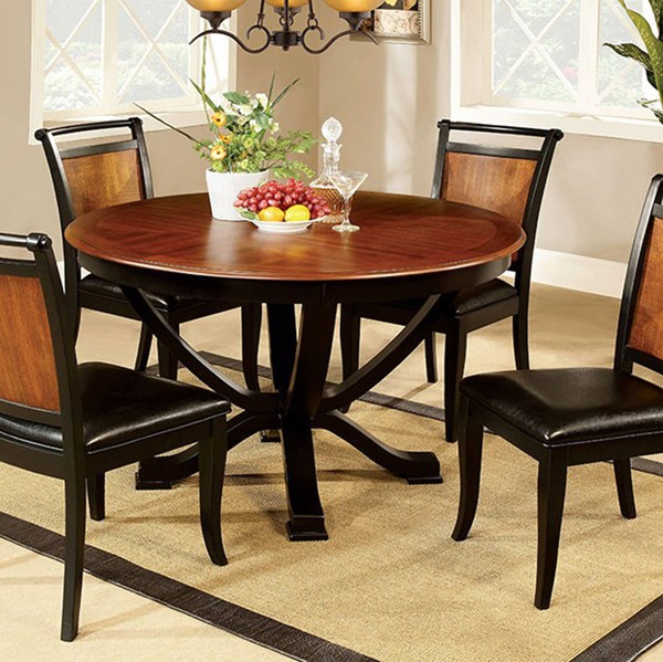 Homeroots Acacia Black Wood Two Toned Round Dining Table OCN-307458