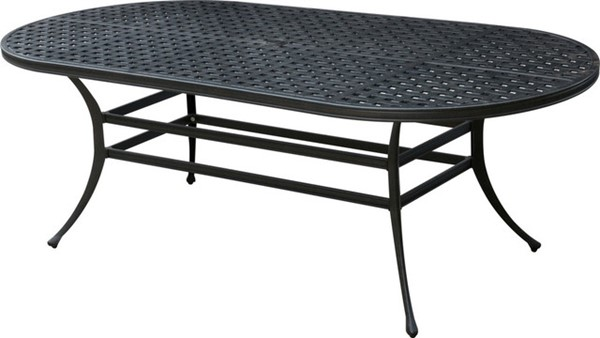 Homeroots Dark Gray Metal Glass Top Oval Patio Dining Table OCN-307491