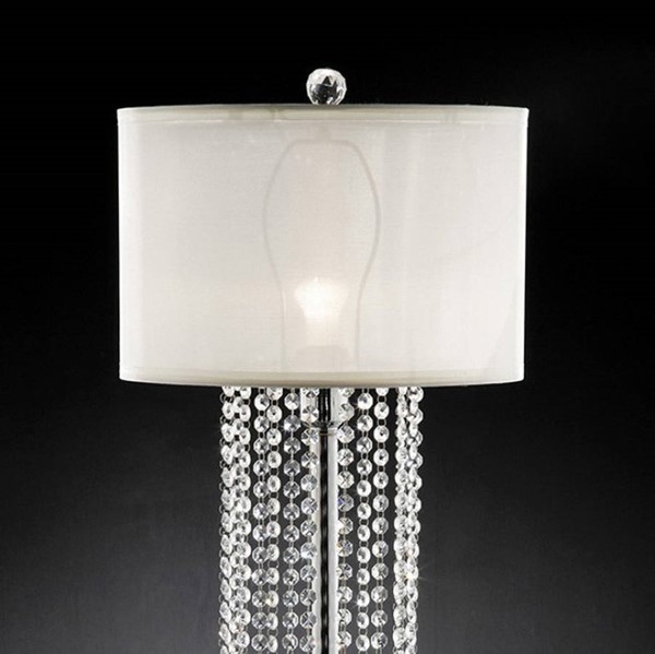 HomeRoots White Crystal Chrome Metal Marble Traditional Table Lamp OCN-307510