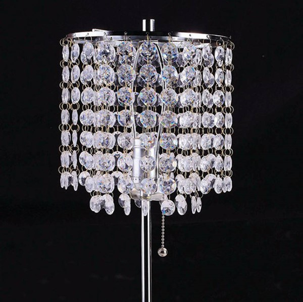 HomeRoots Chrome Metal Crystal Traditional Table Lamp OCN-307517