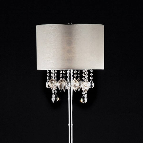 HomeRoots White Crystal Glass Metal Traditional Floor Lamp OCN-307518