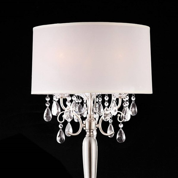 HomeRoots White Crystal Chrome Metal Traditional Table Lamp OCN-307534