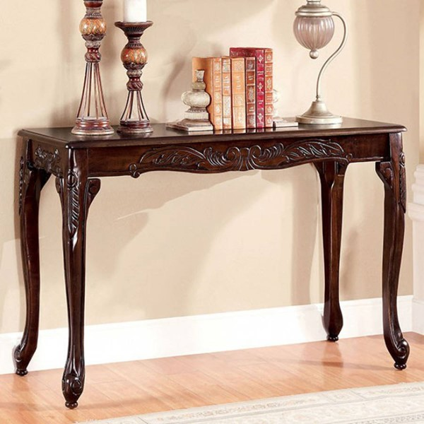 Homeroots Brown Cherry Wood Sofa Table OCN-307545
