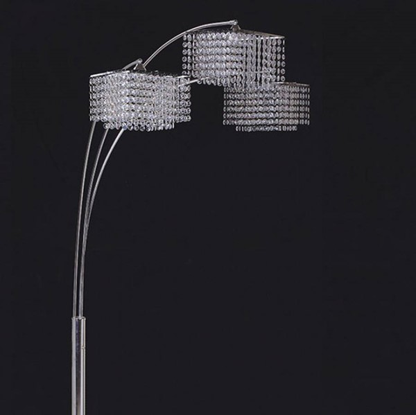 HomeRoots White Crystal Chrome Metal Tina Traditional Arch Lamp OCN-307548