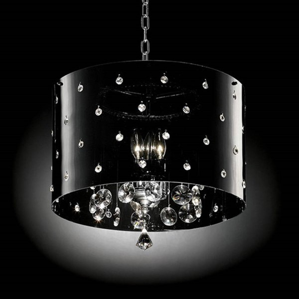 HomeRoots Black Acrylic Crystal Marble Contemporary Ceiling Lamp OCN-307553