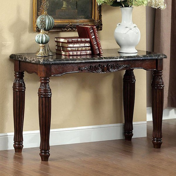 Homeroots Espresso Solid Wood Faux Marble Top Sofa Table OCN-307562