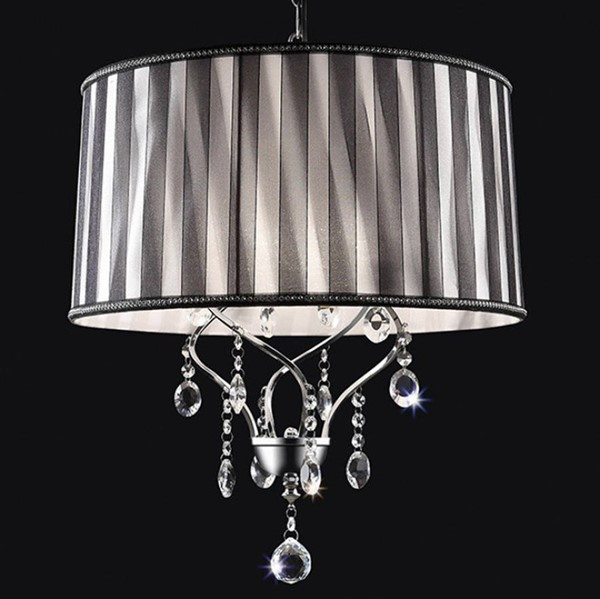 HomeRoots Black Crystal Chrome Metal Ceiling Lamp OCN-307572