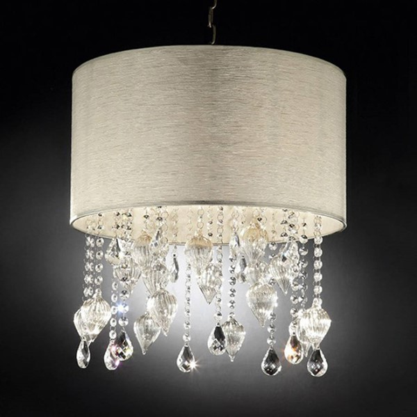 HomeRoots Off White Crystal Glass Metal Contemporary Ceiling Lamp OCN-307573