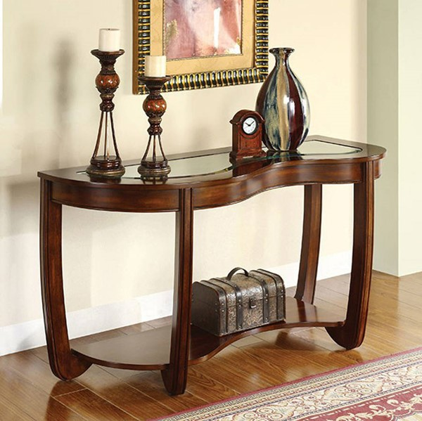 Homeroots Transitional Dark Cherry Solid Wood Glass Top Sofa Table OCN-307595