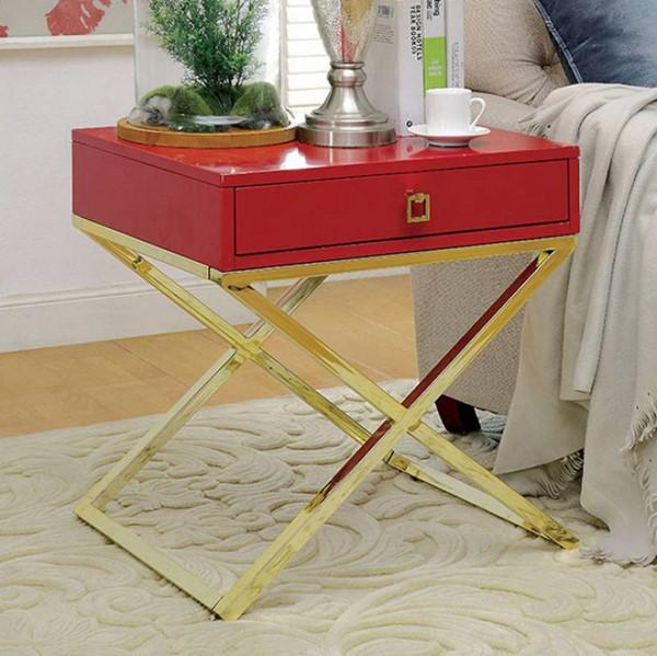 Homeroots Red Champagne Metal Side Table OCN-307601