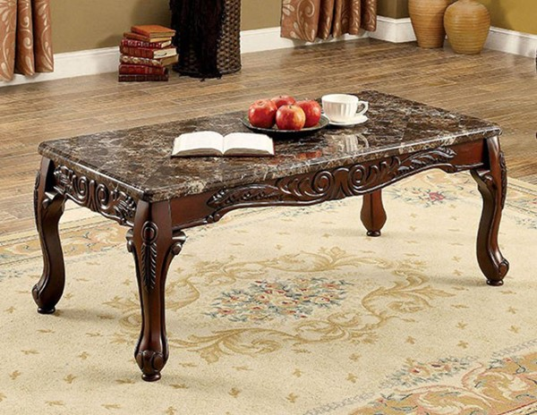 Homeroots Brown Wood Marble Top Cocktail Table OCN-307603