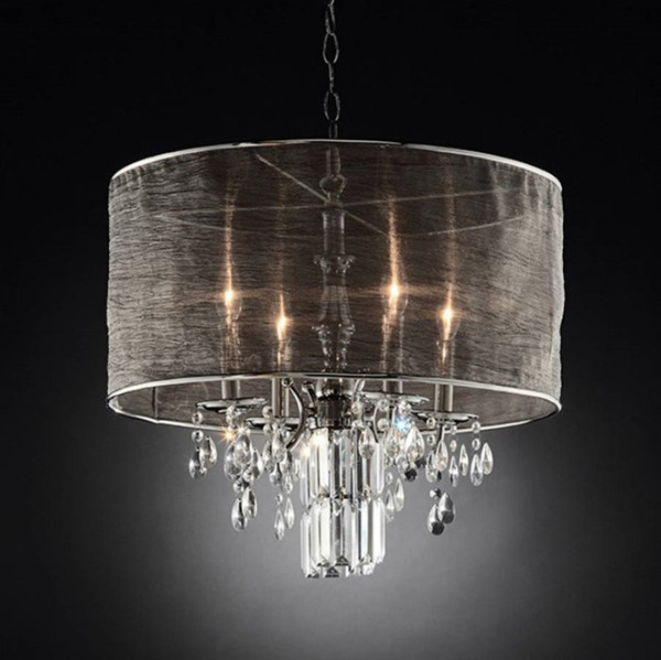 HomeRoots Black Silver Metal Contemporary Ceiling Lamp OCN-307606