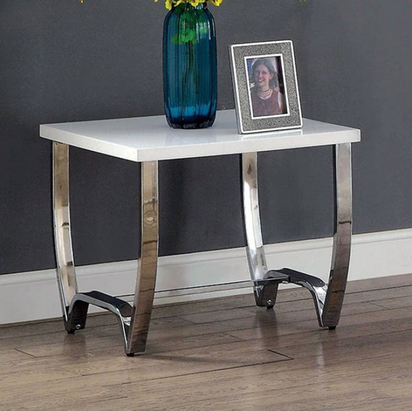 Homeroots White Top Metal End Table OCN-307610