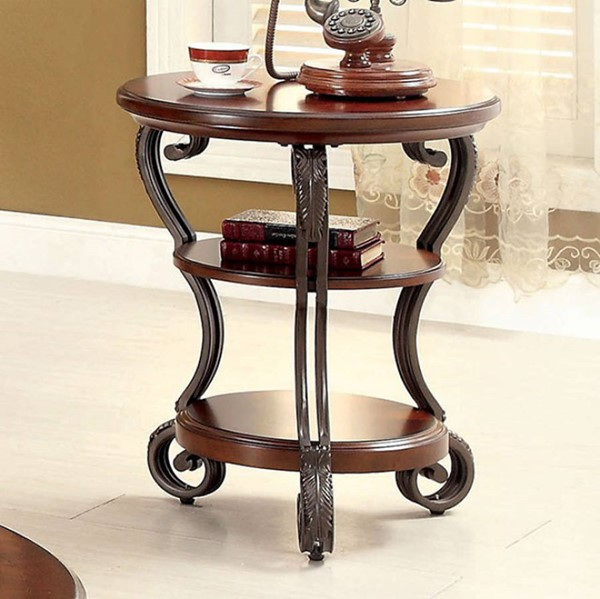 Homeroots Brown Cherry Solid Wood Metal Side Table OCN-307613