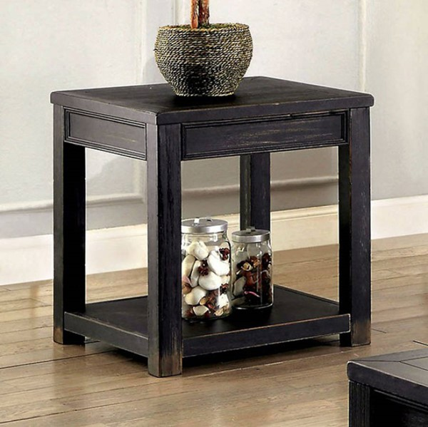 Homeroots Meadow Antique Black Wood End Table OCN-307614